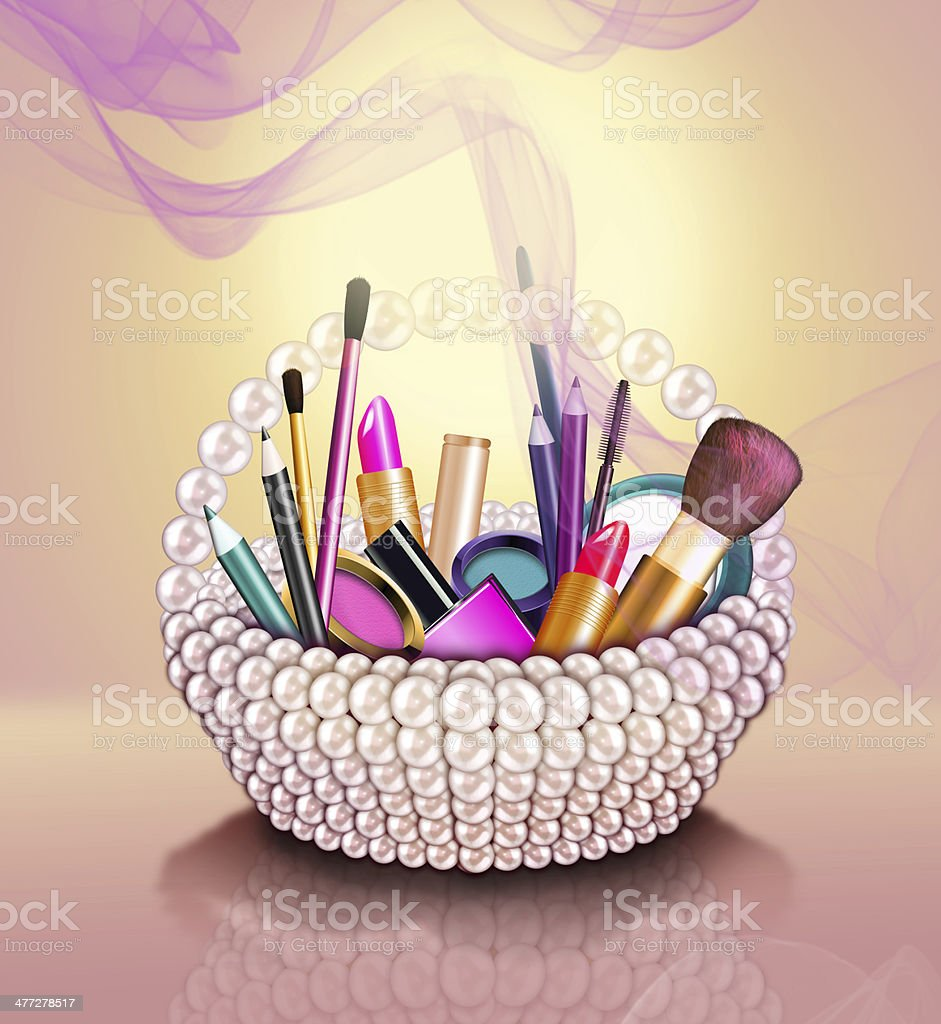 Cosmetics set into a pearl basket royalty-free stock photo