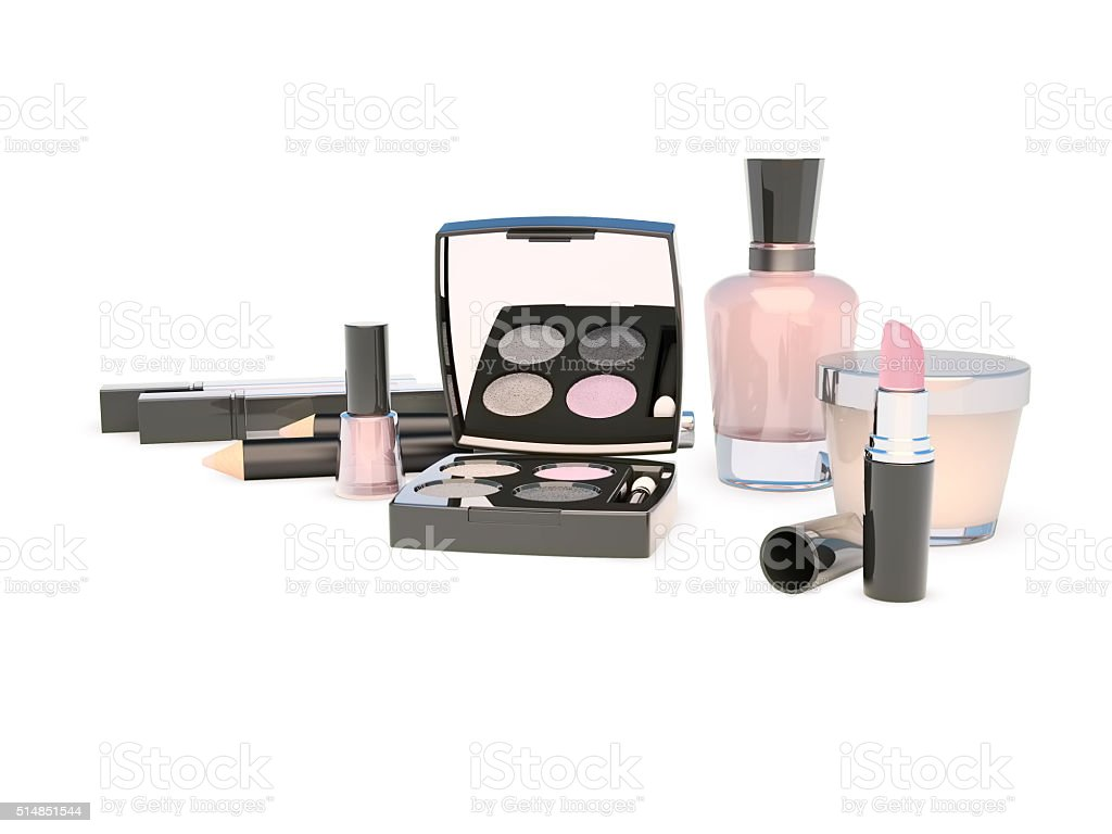 Cosmetics set on white background. stock photo
