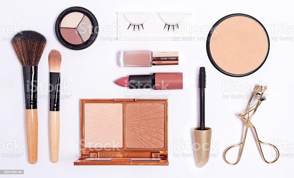 Cosmetics set on white background, top view stock photo