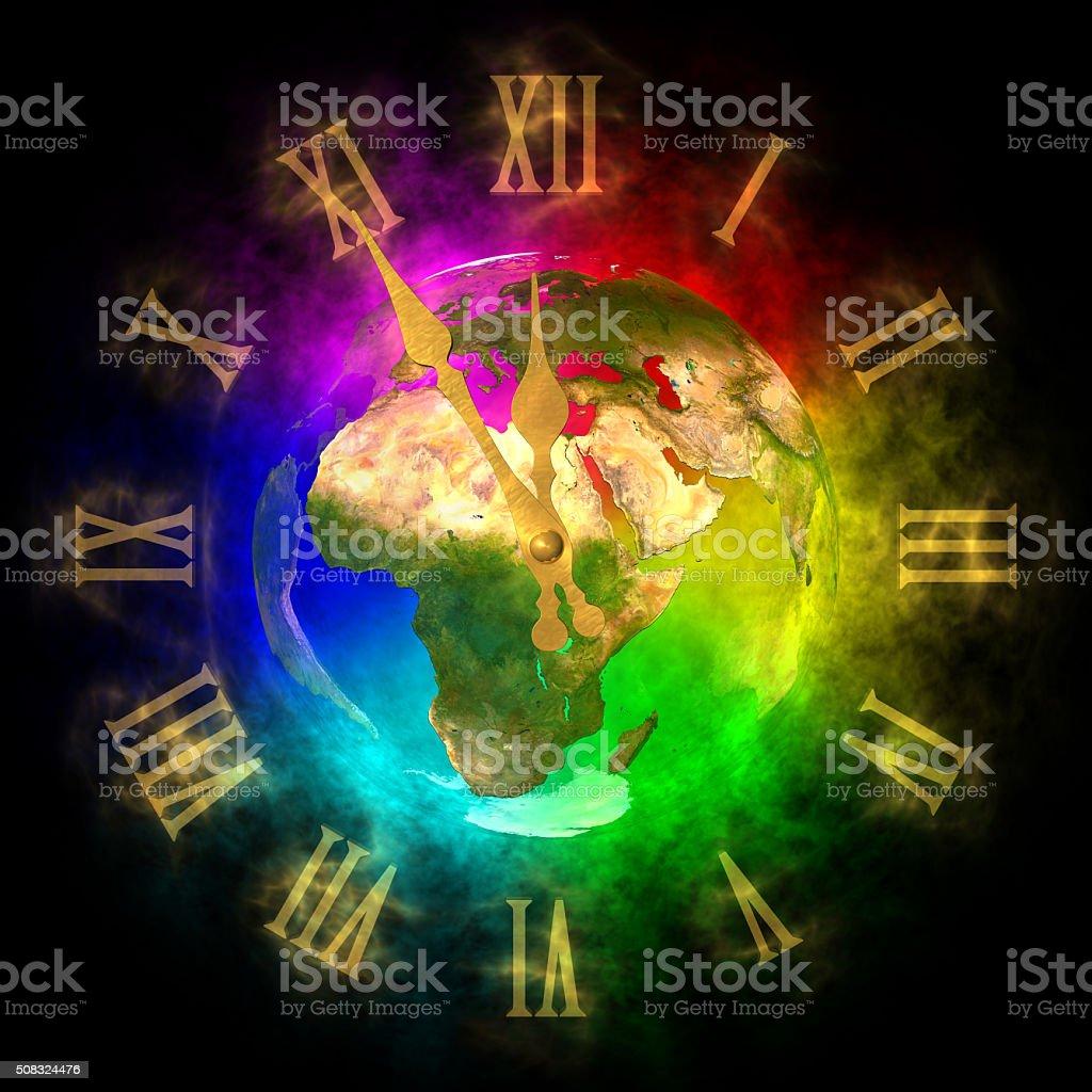 Cosmic clock - optimistic future on Earth - Europe stock photo