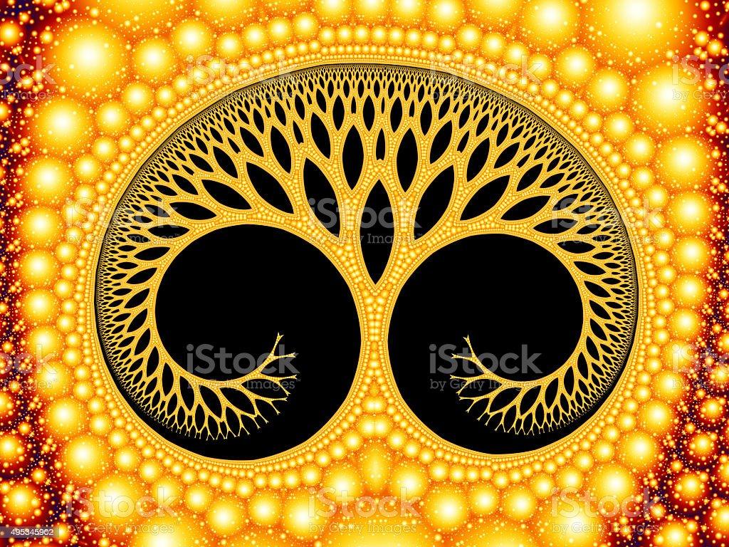 Cosmic evolutionary tree of life symbol golden fractal image stock photo