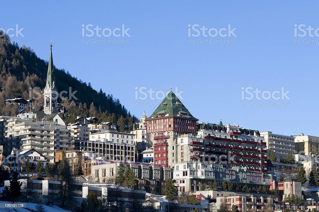 Cosmopolitan Alpine city stock photo