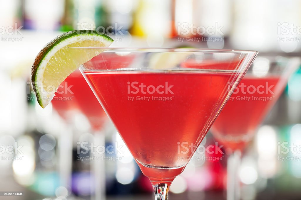 Cosmopolitan cocktails on a bar stock photo