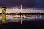 Cosmopolitan night cityscape at Baltic riverside