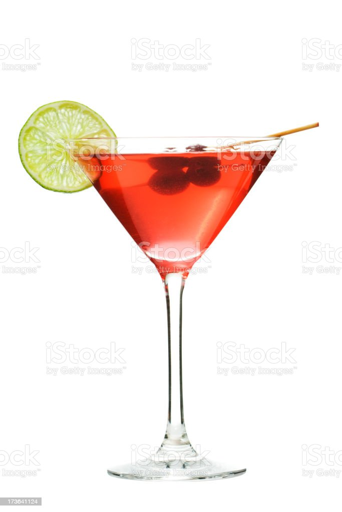 Cosmopolitan Red Cocktail Drink in Martini Glass, Isolated on White stock photo