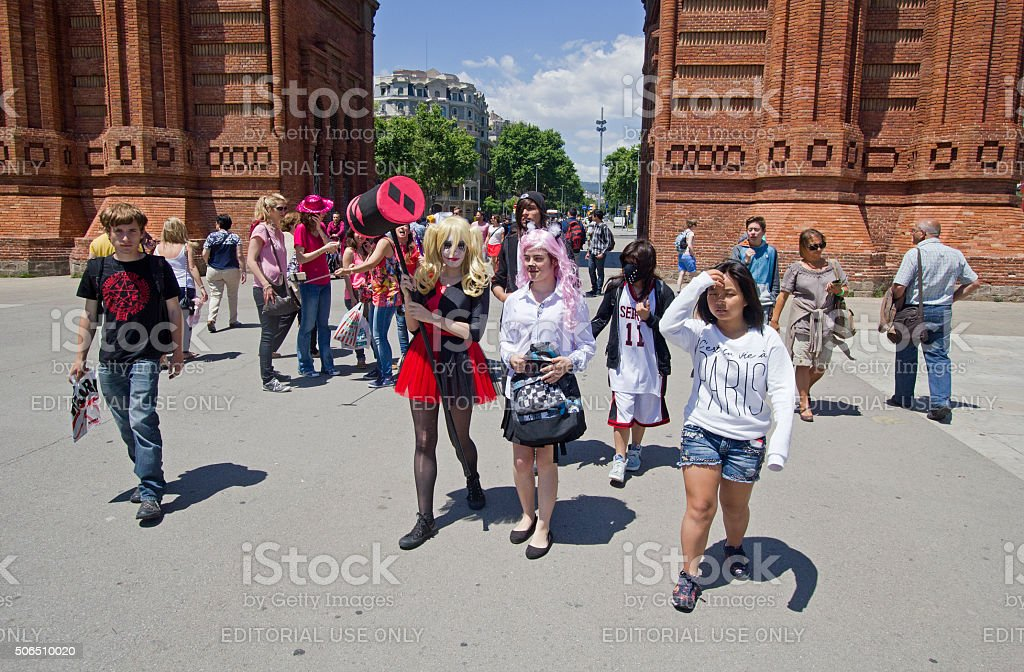 Cosplay fans in Barcelona, Spain stock photo