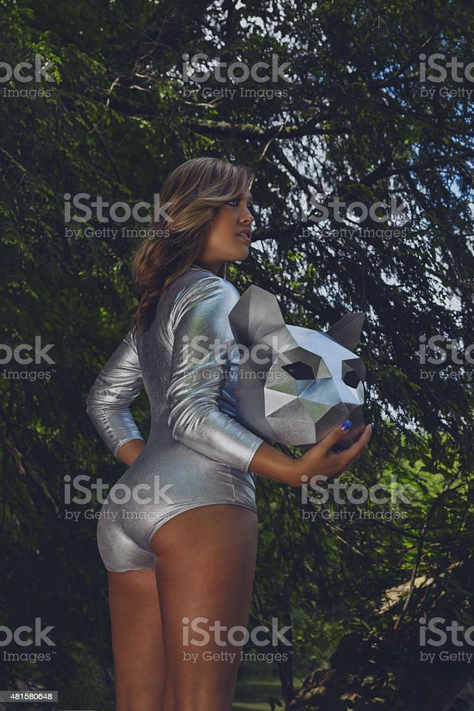 cosplay female in cat costume stock photo