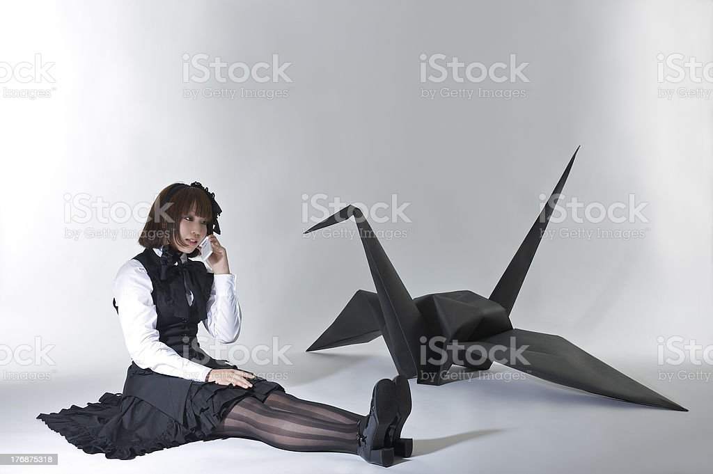 cosplay girl and origami crane royalty-free stock photo