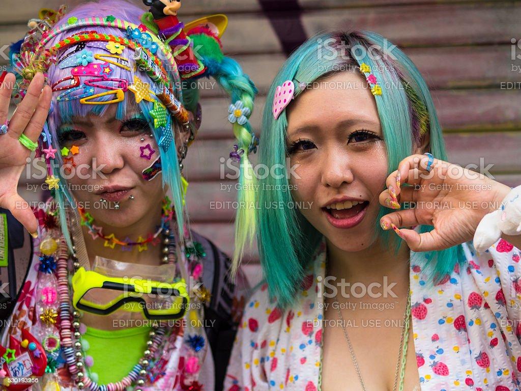 Cosplay girls at Harajuku'sTakeshite Street in Tokyo stock photo