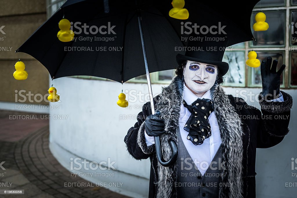 Cosplayer dressed as 'Penguin' from the Batman series stock photo