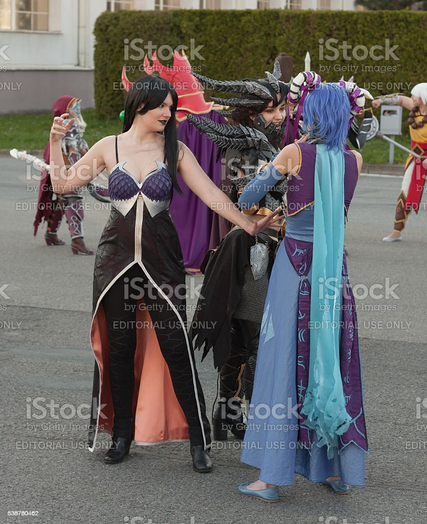 Cosplayers  dressed as characters from World of Warcraft stock photo