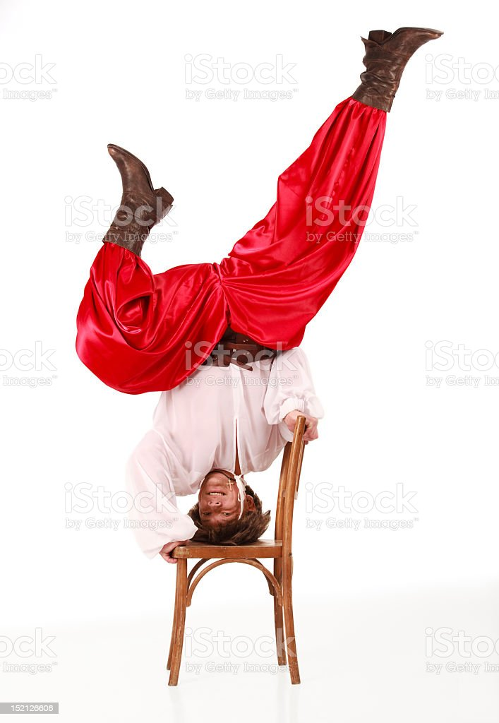 Cossack in red dress stock photo