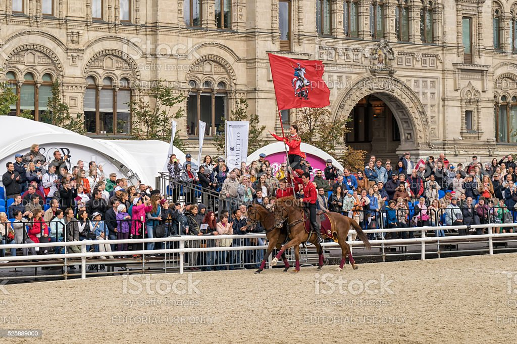 Cossacks of the Kremlin School of Horse Riding in full-dress uniform...
