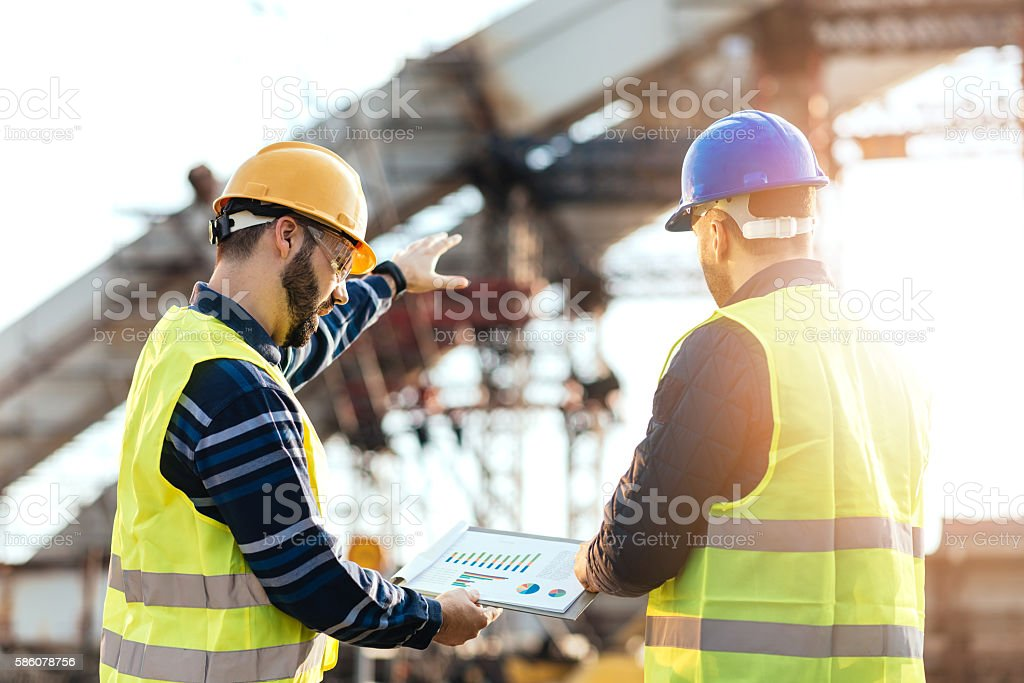Cost benefit analysis in construction industry stock photo