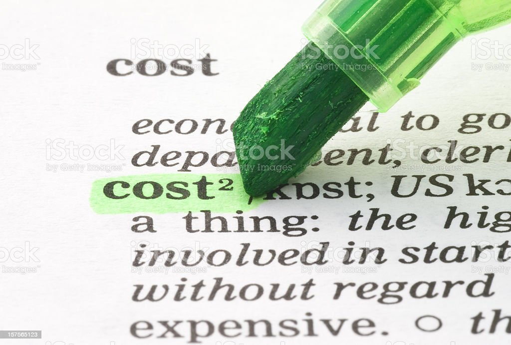 cost definition highlighted in dictionary royalty-free stock photo