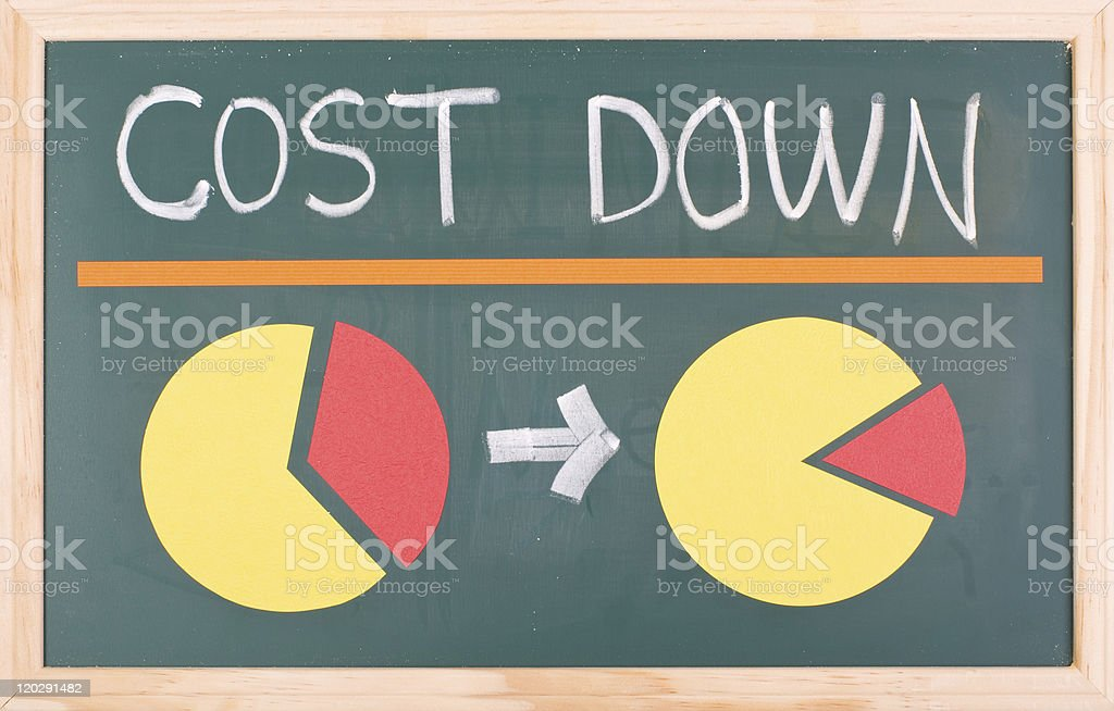 Cost down words and pie chart royalty-free stock photo
