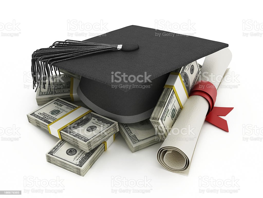 Cost of high education illustration stock photo