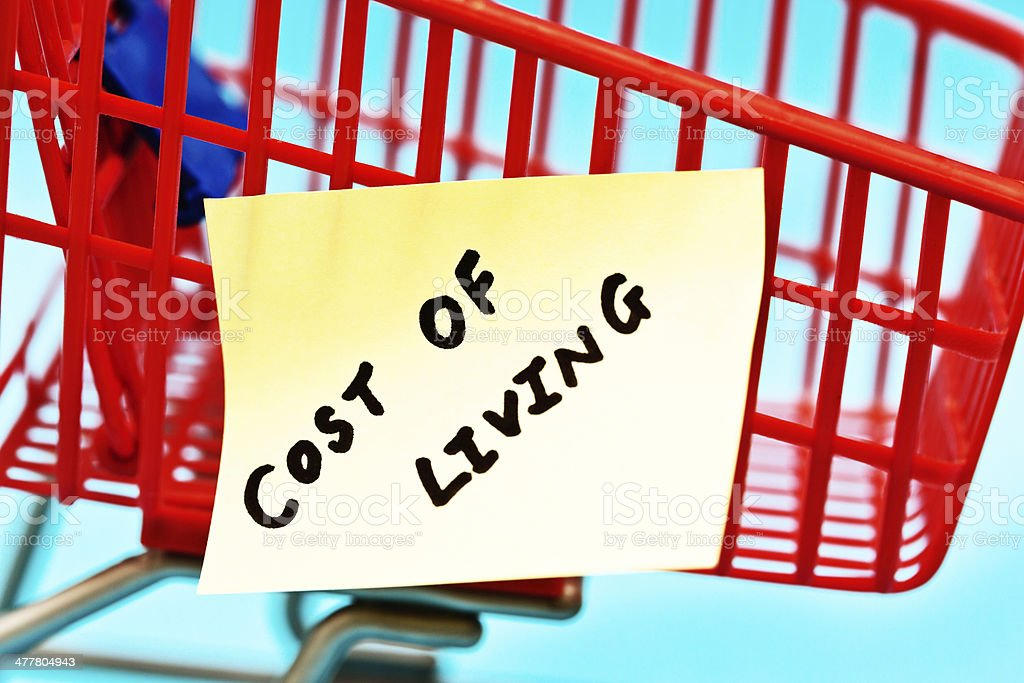 Cost of Living label on tiny trolley: shopping is expensive! royalty-free stock photo