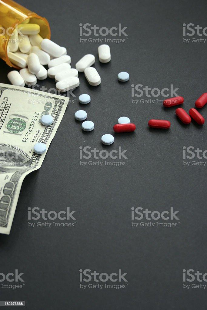 Cost of Prescription Drugs on Black stock photo