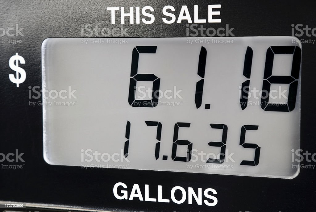 cost of SUV or minivan fillup on gas pump stock photo