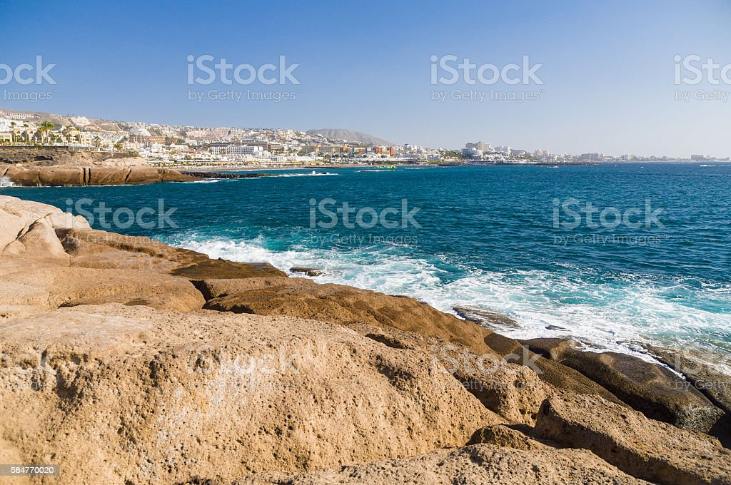 Costa Adeje resort coastline, Tenerife island stock photo