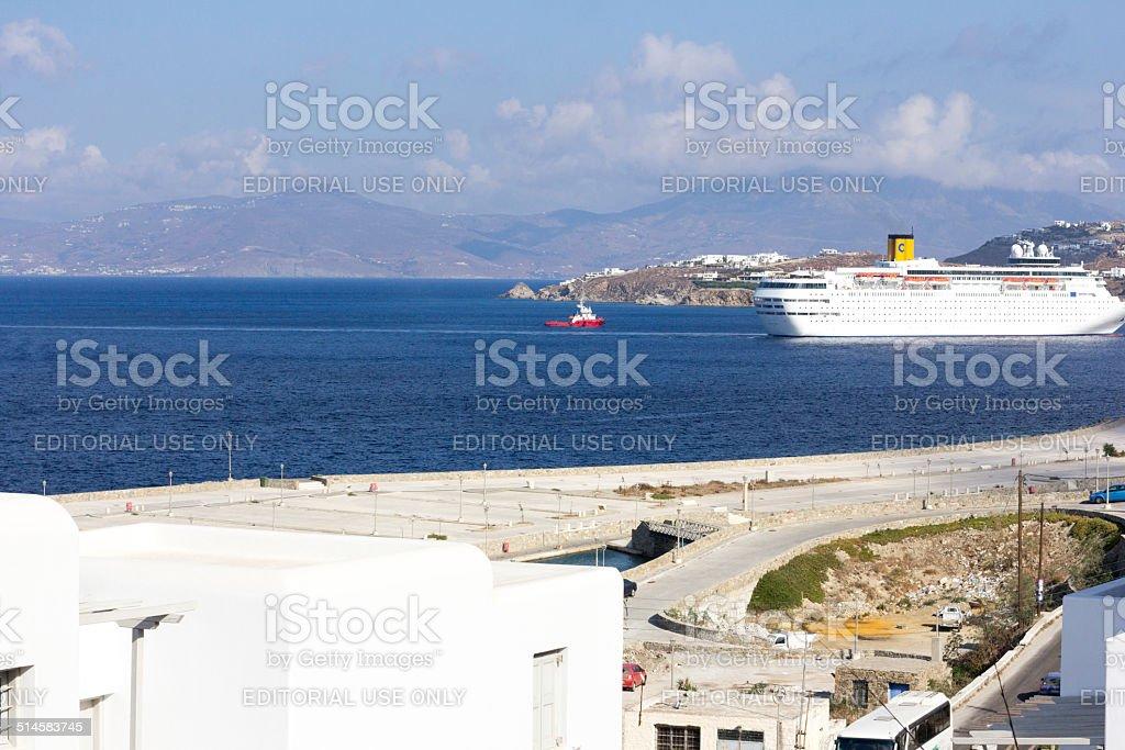 Costa Classica Cruise Ship in Mykonos, Greece stock photo