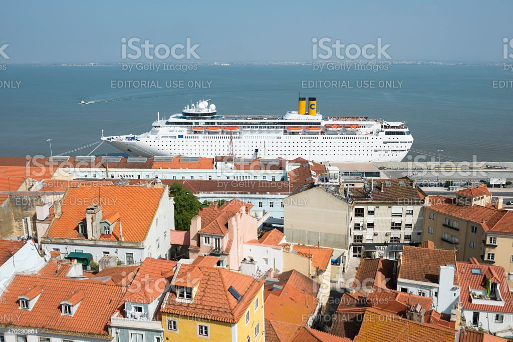 Costa Classica docked in Lisbon, Portugal stock photo