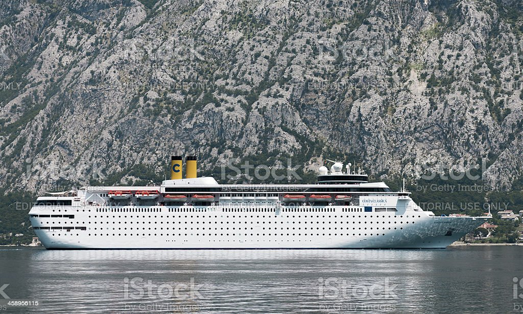 :Costa Classica in front of Kotor stock photo
