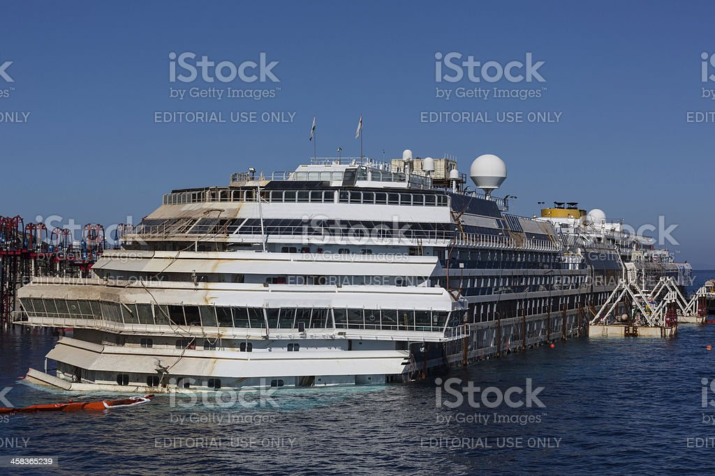 Costa Concordia After Parbuckling stock photo