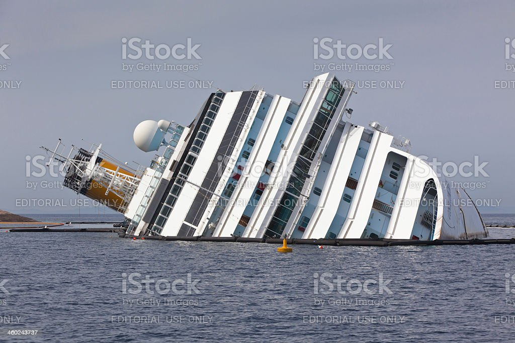 Costa Concordia Cruise Ship after Shipwreck stock photo