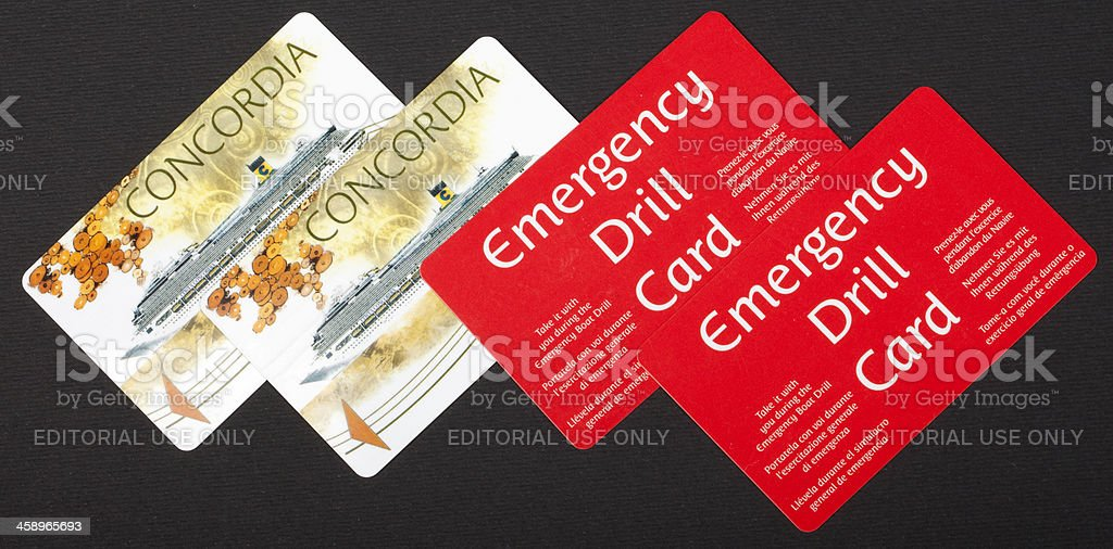 Costa Concordia electronic passes and emergency cards on black background stock photo
