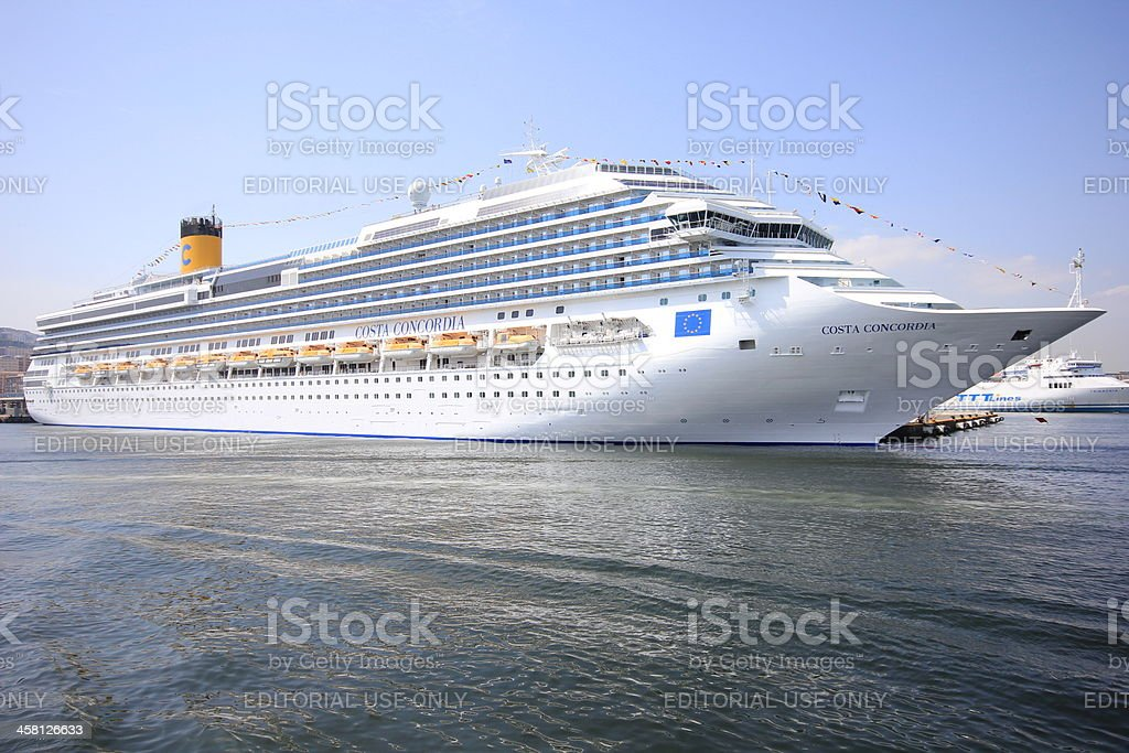 Costa concordia full view, 2010, Naples stock photo