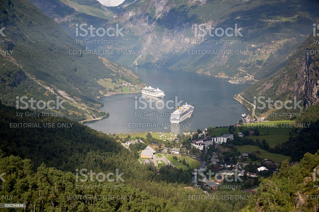 Costa Fortuna and Brilliance of the Seas in Norway stock photo