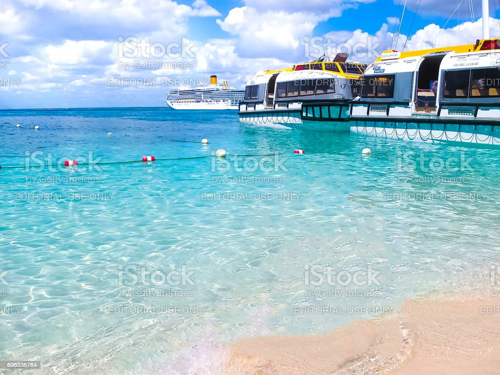Catalina island, Dominican Republic- February 05, 2013: Costa Luminosa cruise ship, owned and operated by Crociere, built Fincantieri Marghera shipyard in 2009. stock photo