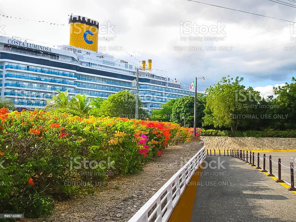 La Romana, Dominican Republic - February 04, 2013: Costa Luminosa cruise ship stock photo