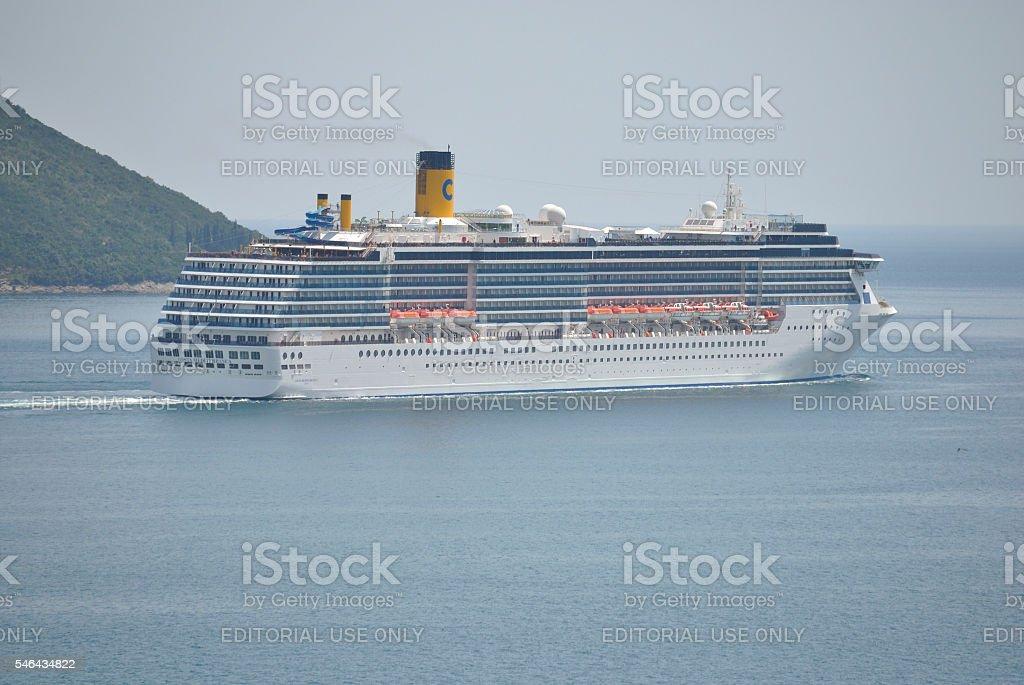 Costa Mediterranea cruise ship in Adriatic sea. stock photo