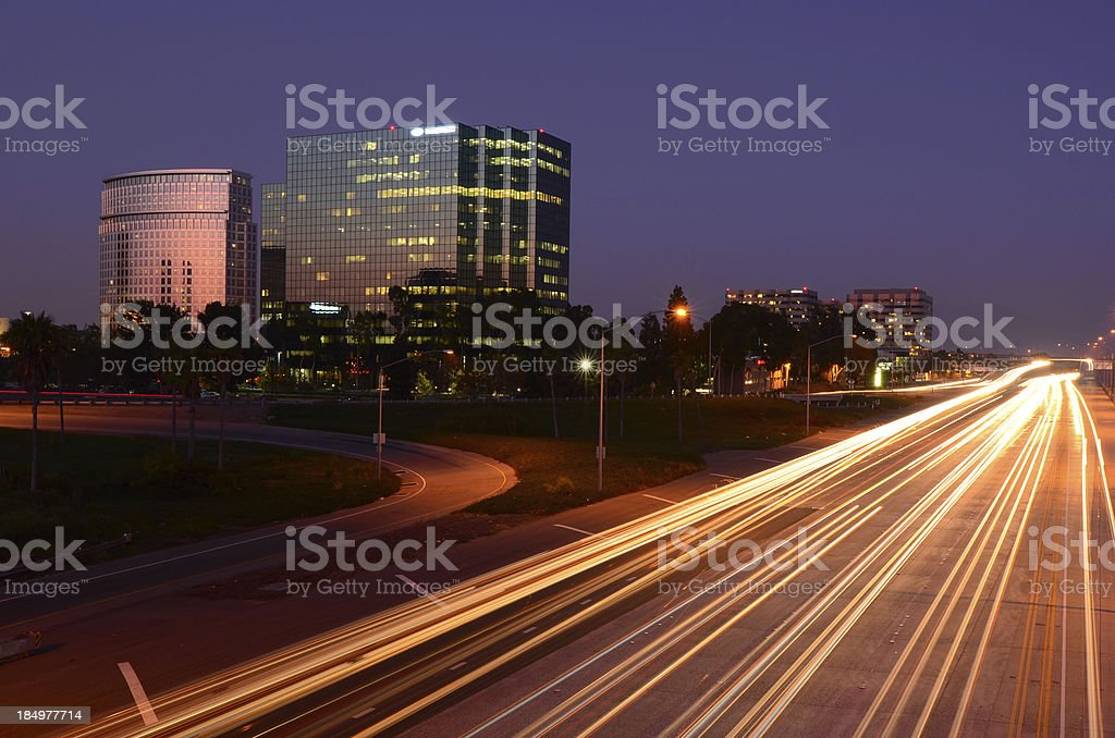 Costa Mesa and the 405 freeway at dusk stock photo