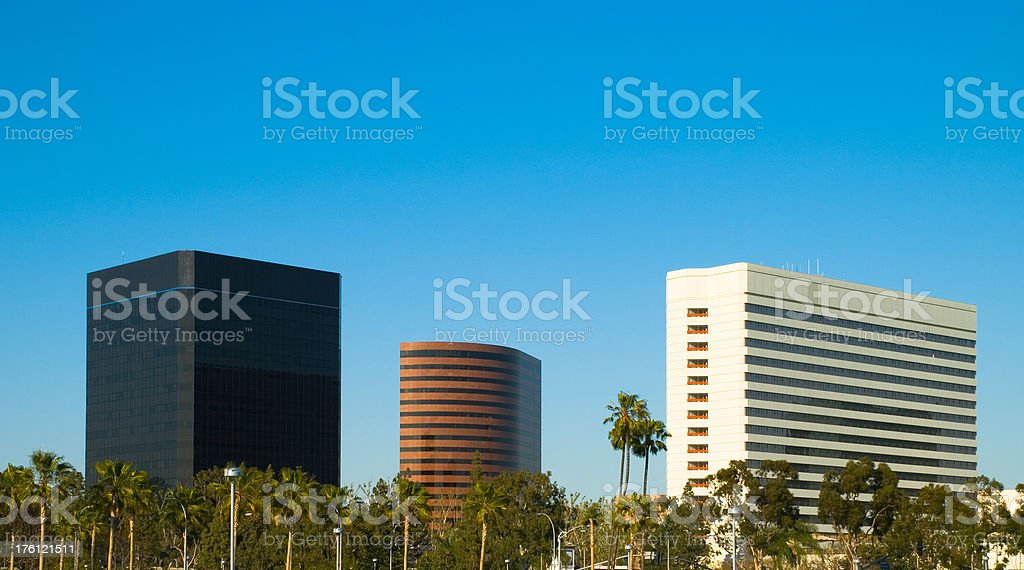 Costa Mesa skyline in Orange County, California royalty-free stock photo
