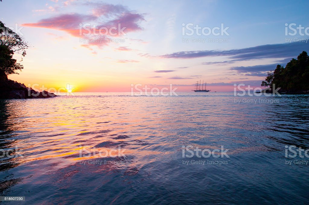 Costa Rica Beach Sunset stock photo