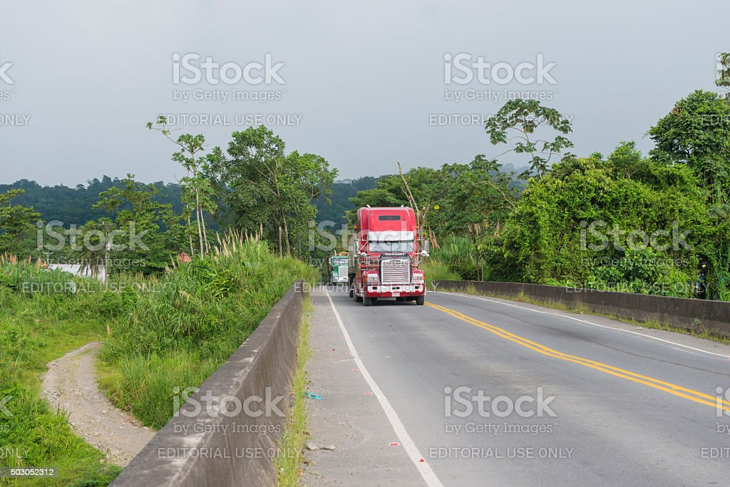 Costa Rica Big Rig Truck Freight Transportation Shipping Central America stock photo