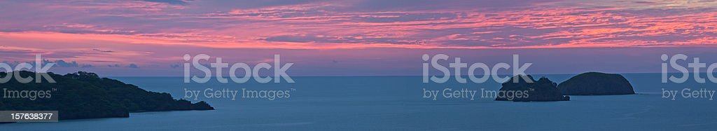 costa rica coast sunset panorama stock photo