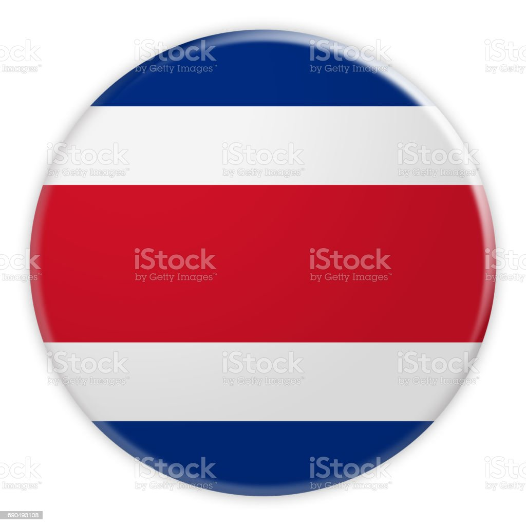 Costa Rica Flag Button, News Concept Badge, 3d illustration on white background stock photo