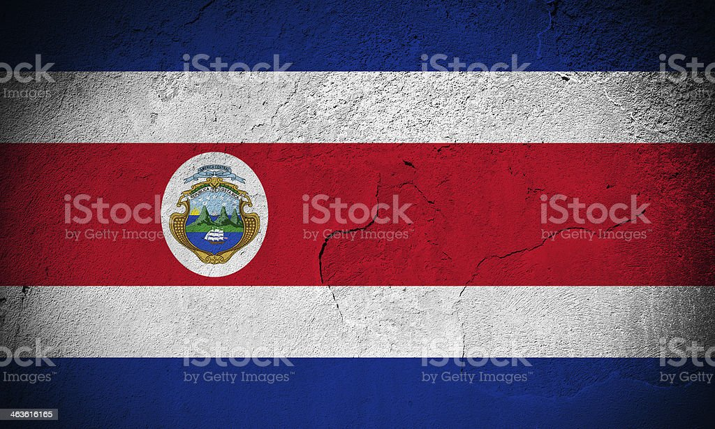 Costa Rica flag on cracked wall royalty-free stock photo