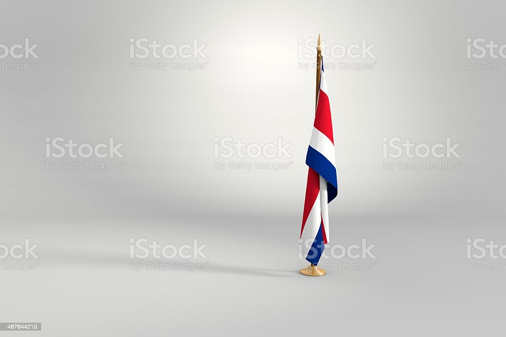 Costa Rica flag on mast 3d illustration stock photo