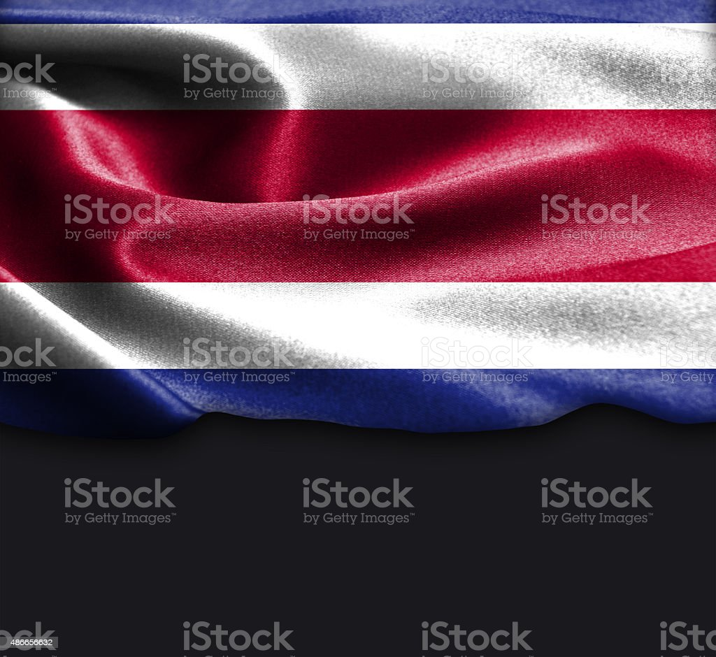 Costa Rica flag on smooth silk texture stock photo