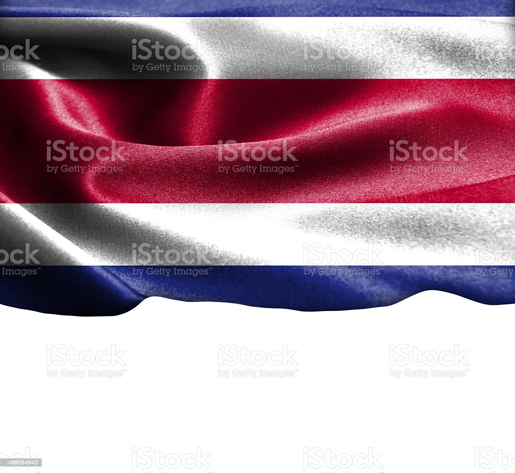 Costa Rica flag on smooth silk texture Space for Text stock photo