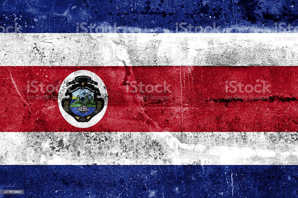 Costa Rica Flag painted on grunge wall stock photo