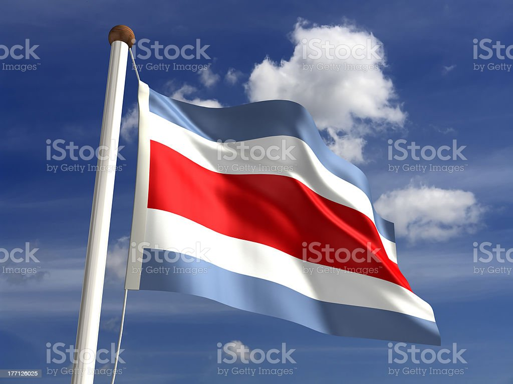Costa Rica flag (with clipping path) stock photo