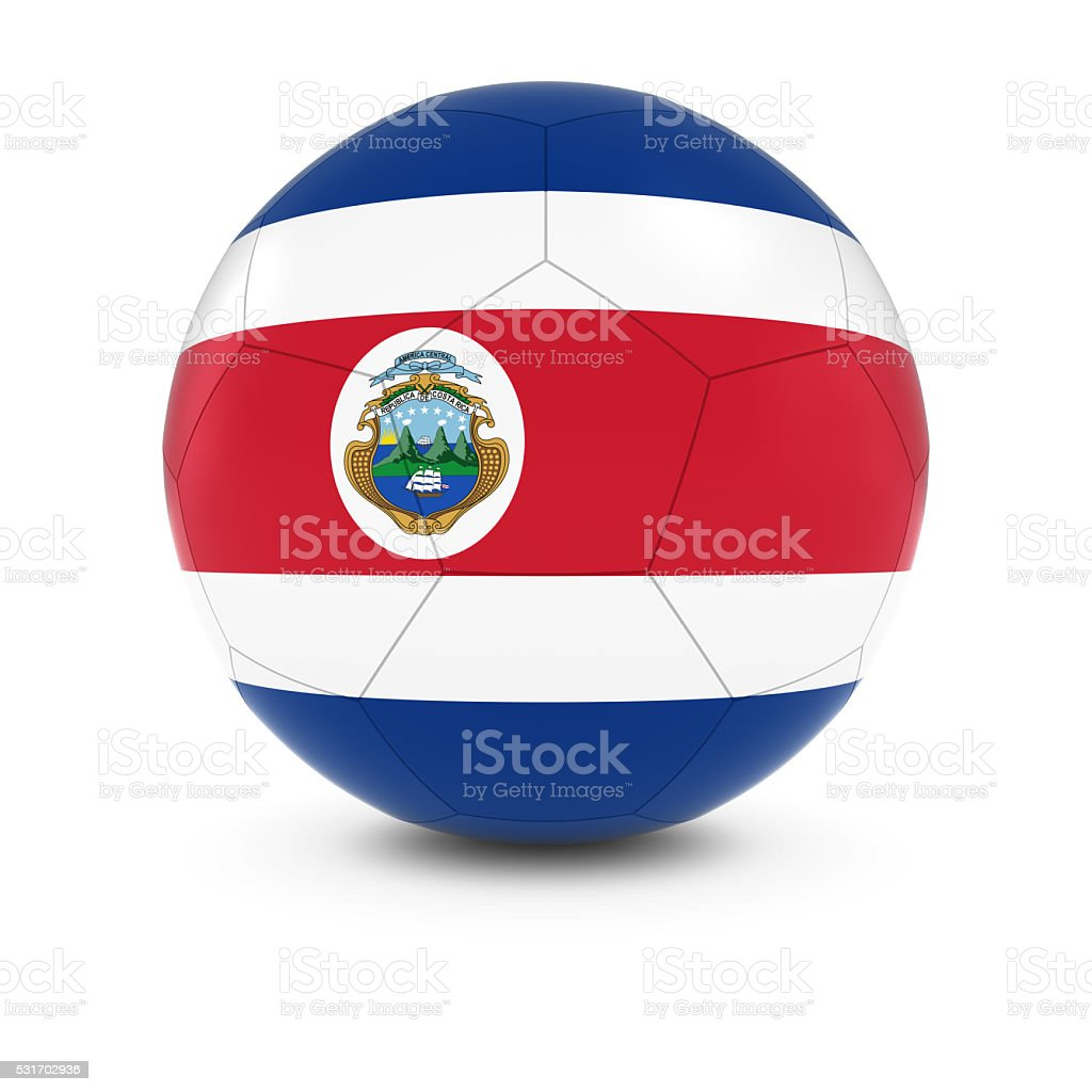 Costa Rica Football - Costa Rican Flag on Soccer Ball stock photo
