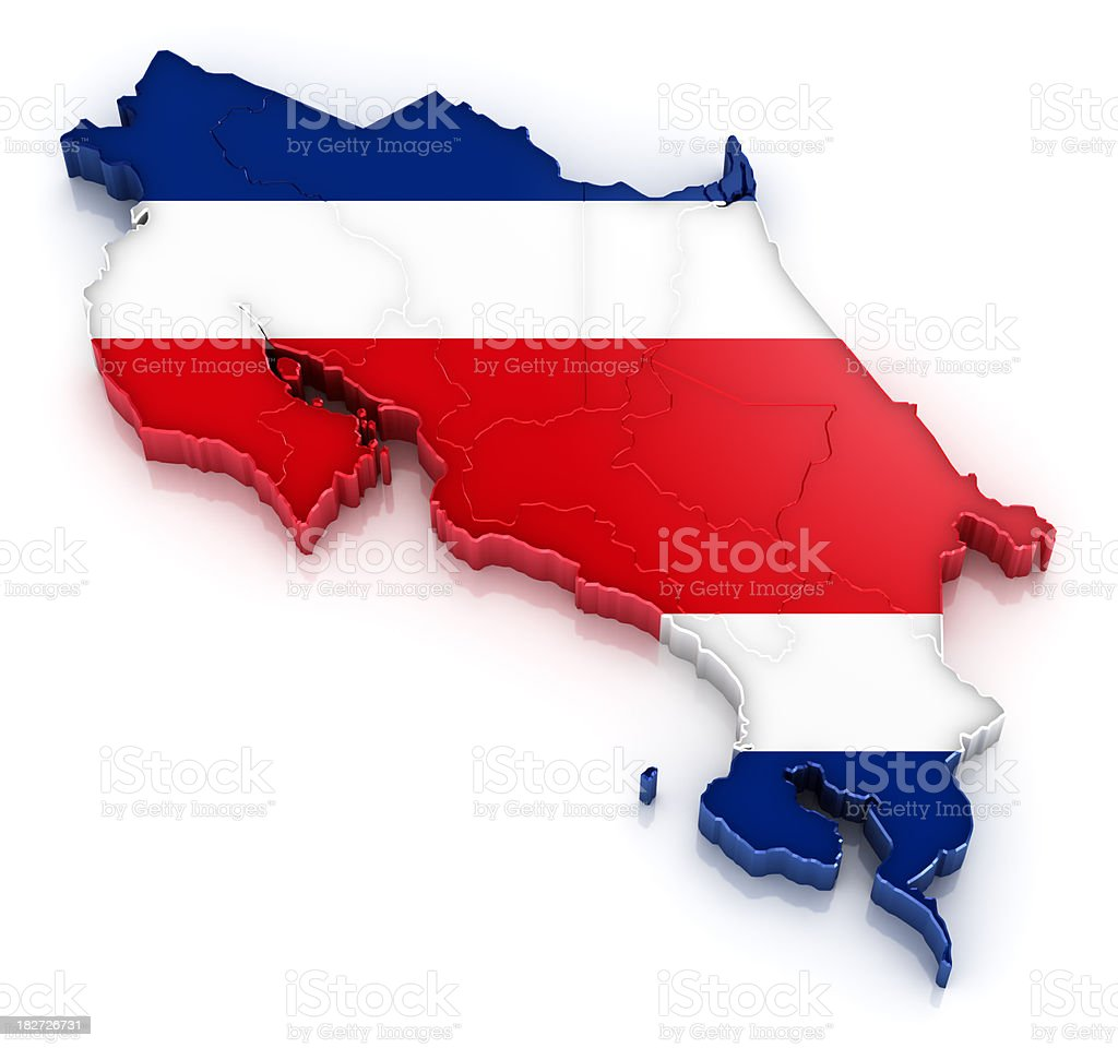 Costa Rica map with flag royalty-free stock photo